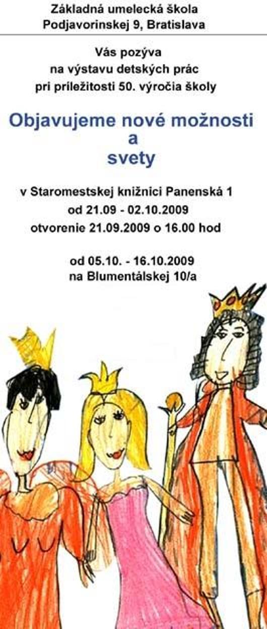 Pozvánka na výstavu prác detí zo ZUŠ na Podjavorinskej ul. v Bratislave